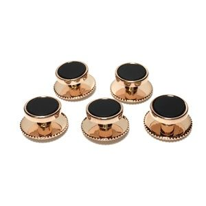 Other - 5 Rose Gold and Onyx Tuxedo Shirt Studs